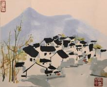 A painting of Watery Village by Wu Guan Zhong