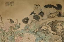 A pair of cats by Liu Kui Ling