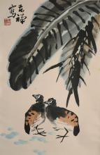 A pair of eagles painting by Li Ku Chan