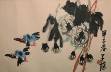 An Ink and Color on Paper of Birds and Flowers