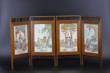 A figural Storied Porcelain Plaque Table Top Panels