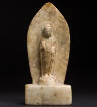 A Chinese rare carved white jade Guanyin from Tang Dynasty
