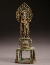 A Chinese bronze figure of Buddha from Northern Qi Dynasty