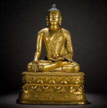 A Chinese Gilt bronze figure of Buddha  from Qing