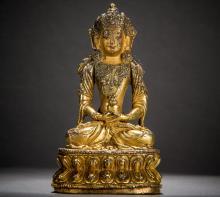 Gilt bronze Immeasurable Buddha statues Yong Xuan style 15th century