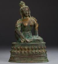 A Bronze Figure of Manjusri from 12th Century