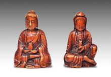 Two Netske Buddha Sculptures, Qing Dynasty