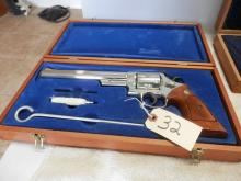 Smith and Wesson Model 57 Nickel 41 mag. 8 3/8 inch Barrel SN: N635693  Like New with wooden display box