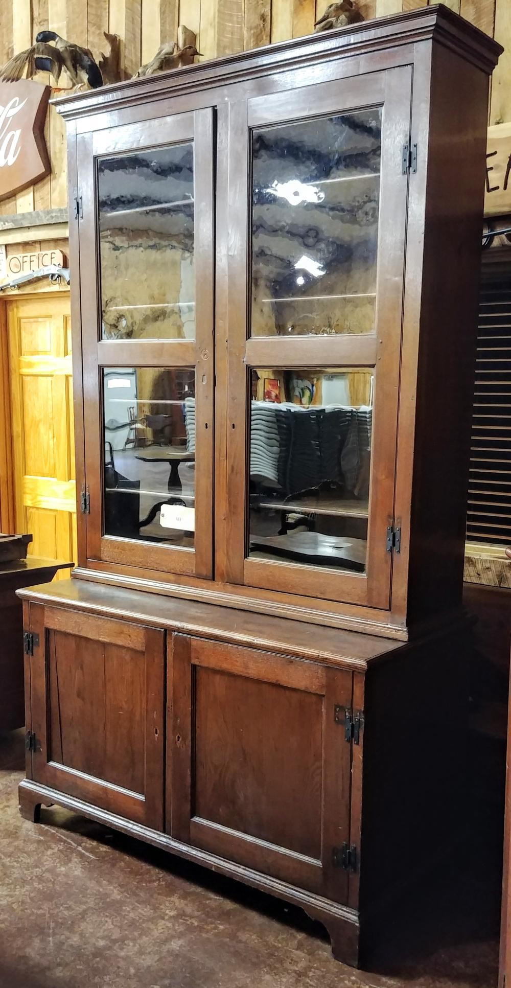 Salem Nc Walnut Bookcase On Cupboard 2 Piece Upper Glass