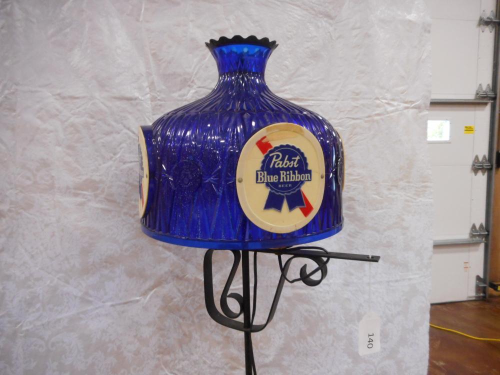 Pabst Blue Ribbon Wrought Iron Floor Lamp Lights