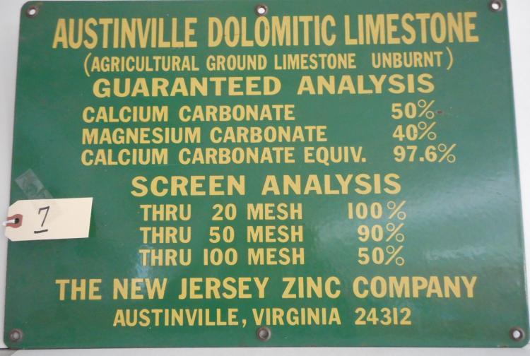 Austinville Dolomitic Limestone Sign