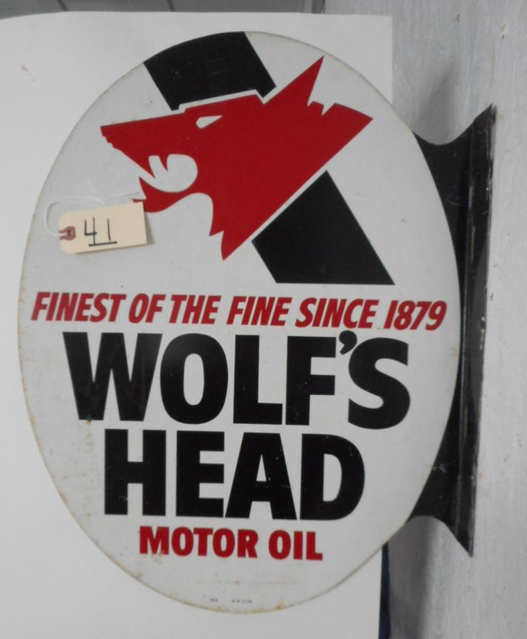 Wolf's Head Motor Oil Flange Sign