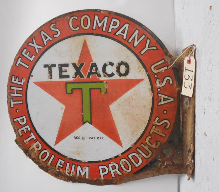Texaco Green T Flange Sign