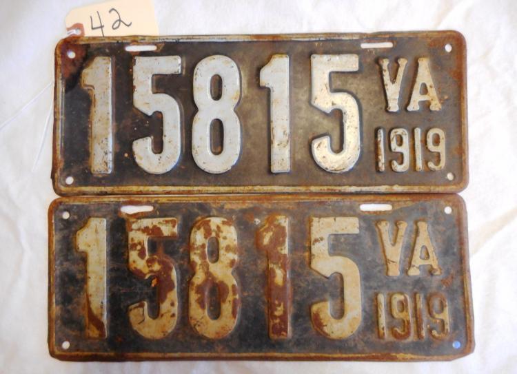 1919 Virginia License Plates