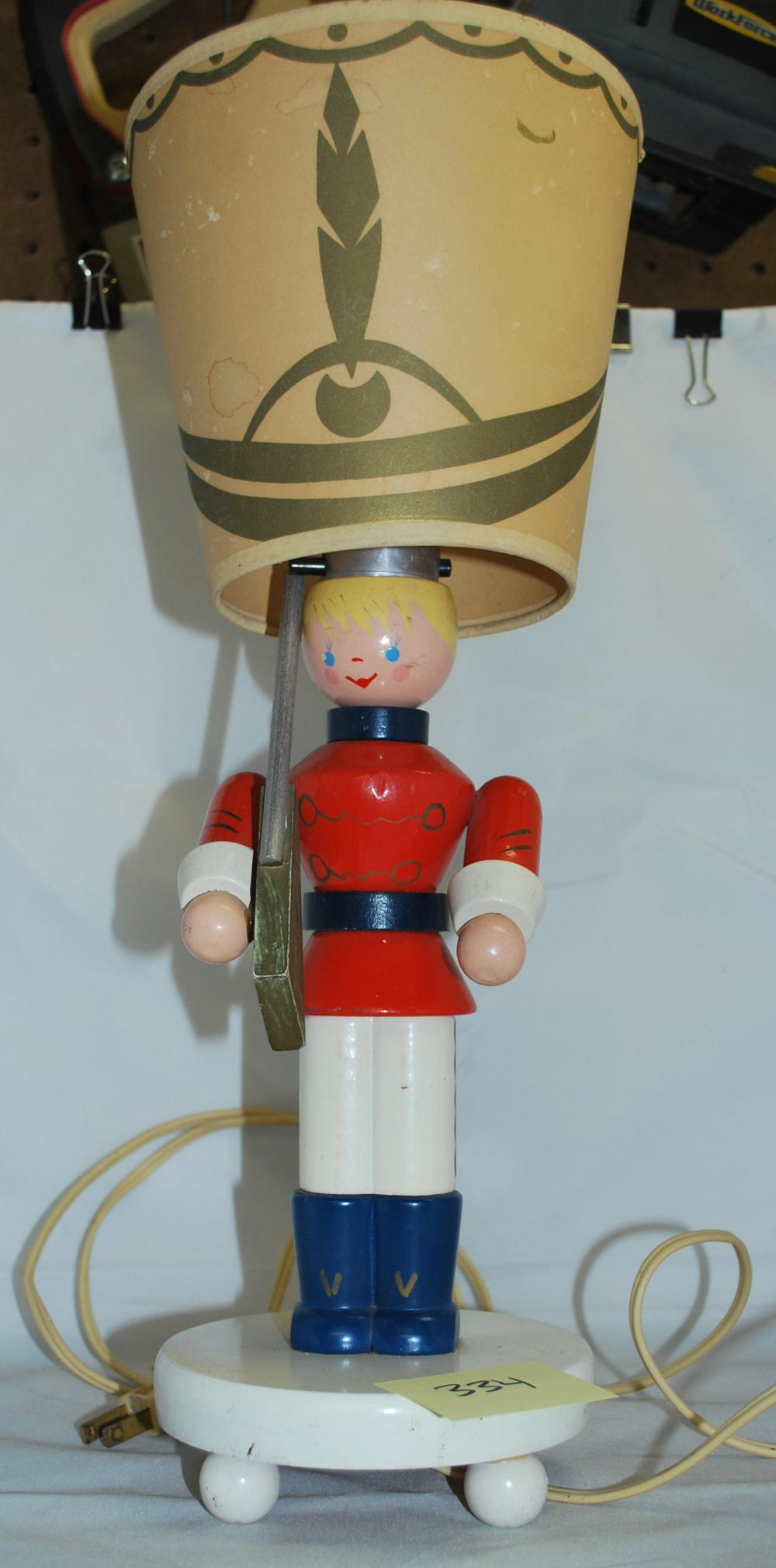 Vintage Wooden Toy Soldier Lamp with Shade
