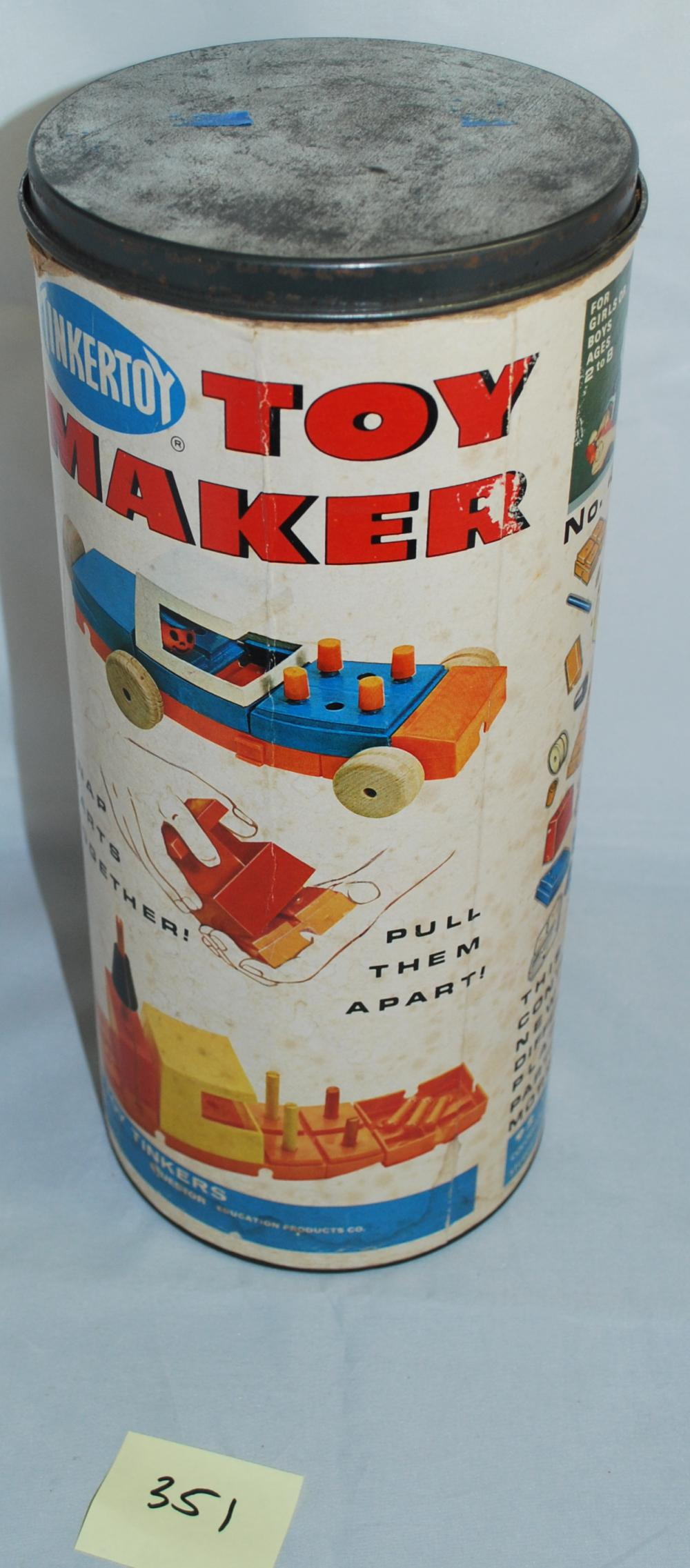 Vintage Tinker Toy Toy Maker Building Set