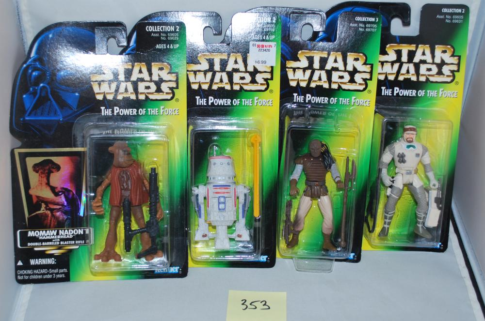 Vintage Lot of (4) POTF2 Star Wars Green Card Action Figures