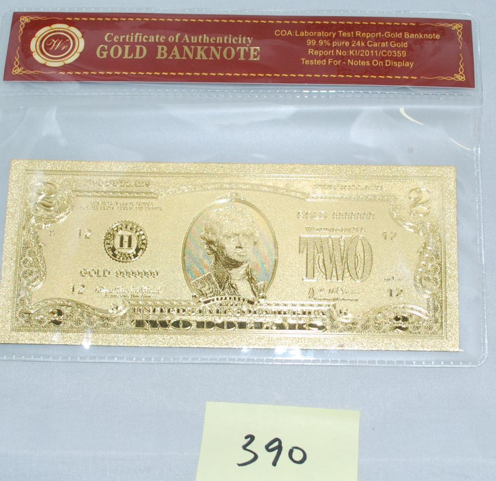 Certified 99.9% pure 24Kt Gold $2 Bank Note