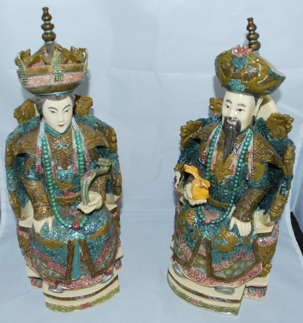 Ornate Ceramic Chinese Statues