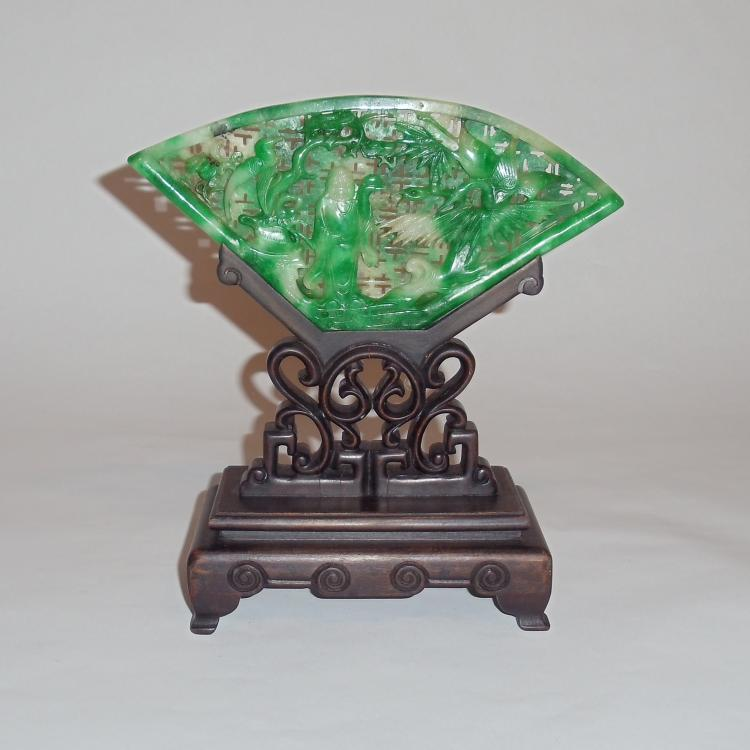 A Rare & Exquisite Jade/Jadeite Table Screen with Motifs of a Scholar with Dancing Cranes