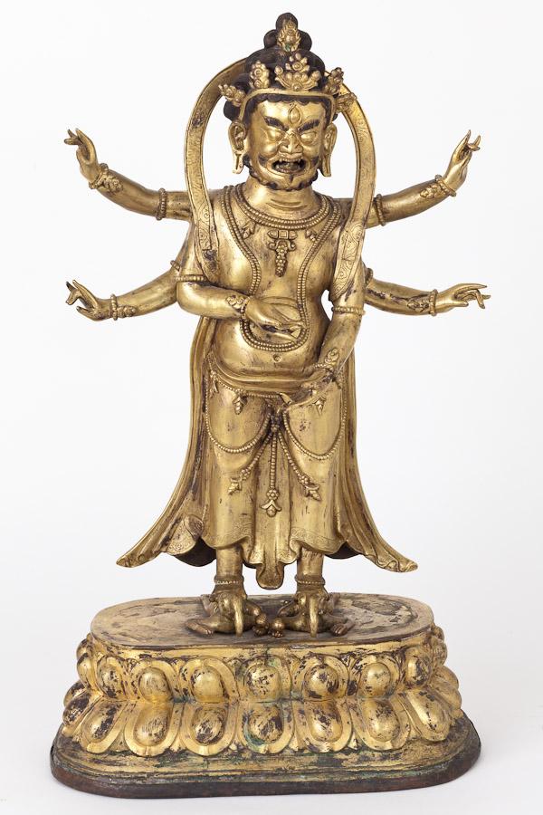 A Rare Gilt Bronze Sino-Tibetan Buddhist Deity of Good Fortune/Early 19th C.