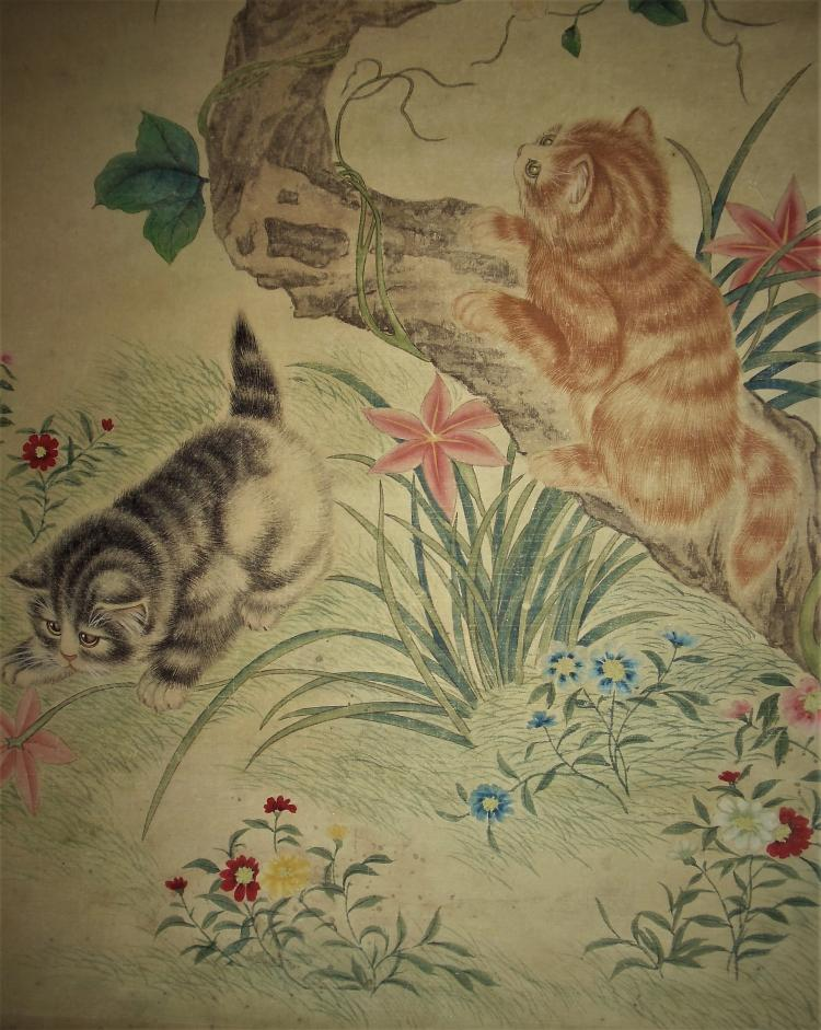 Lang Shining, Giuseppe Castiglione, S.J. (1688-1766) of Qing Dynasty / Two Cats Playing amidst Flowers and Under a Fruitful Tree
