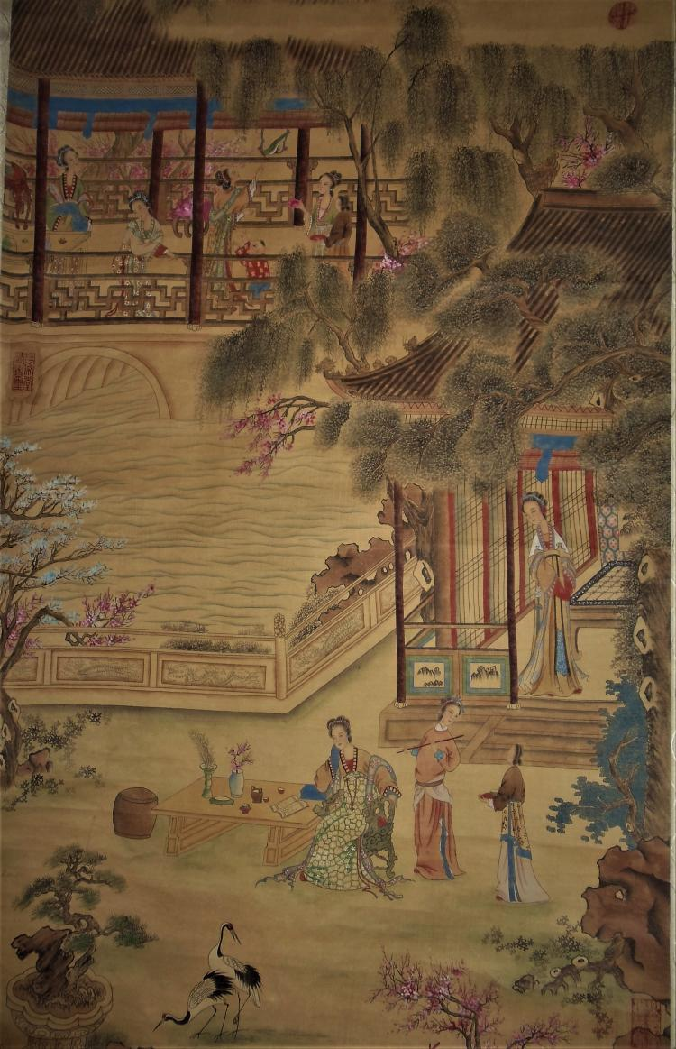 Qiu Ying (1494-1552) / Hanging Scroll of Ladies at Play in a Picturesque Garden