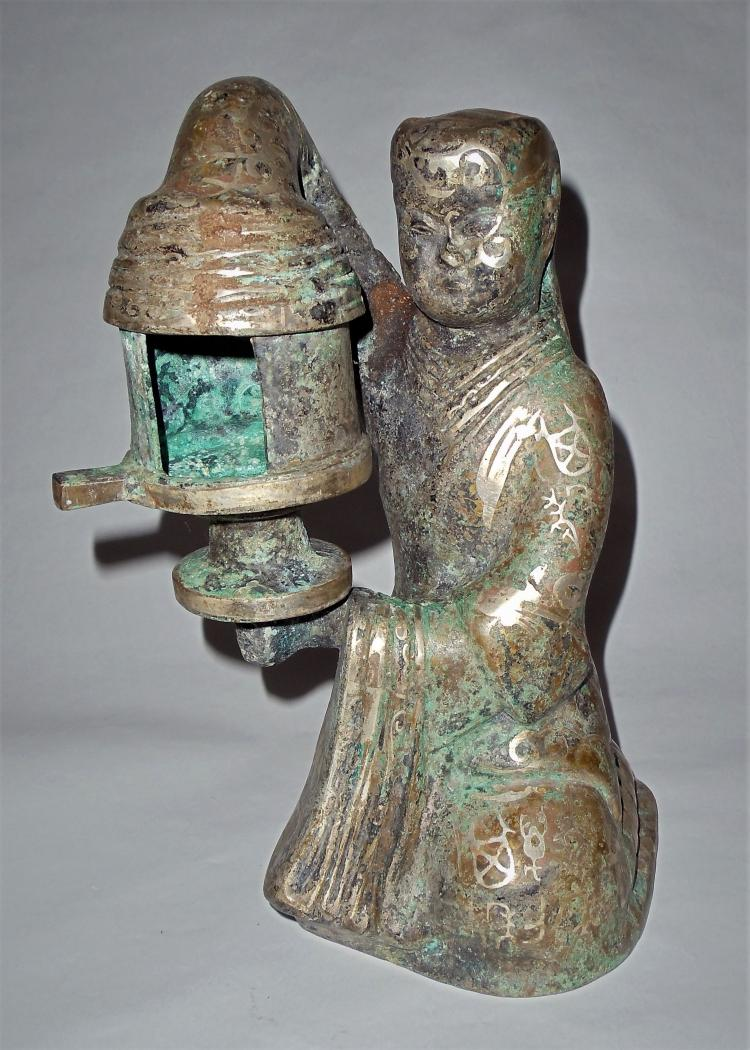 A Bronze Figurine Holding a Lantern in Style of Warring States Perio