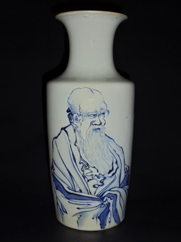 A Blue-White Vase with a Portrait of Lao Tzu, Founder of Taoism and Mark of Ming Dynasty Chenghua Reign