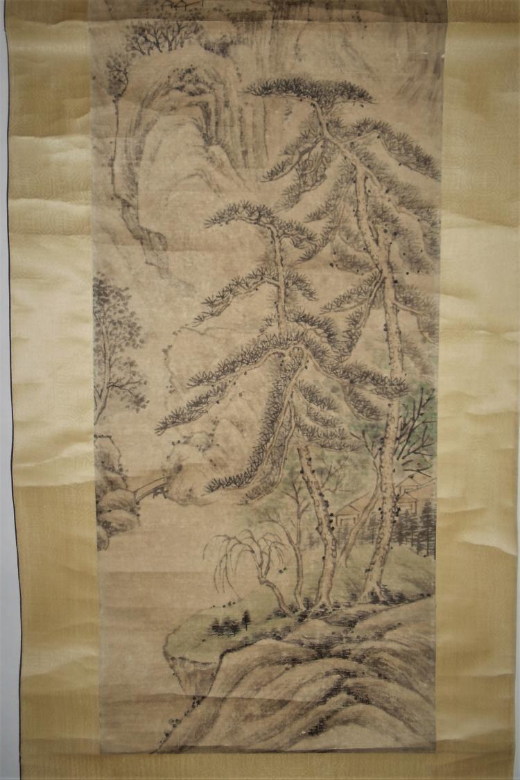 Ni Yuanlu (1593-1644) of Ming Dynasty / Hanging Scroll of Dantai in Early Spring