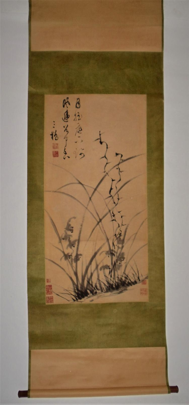 Wen Peng (1498-1573) / Hanging Scroll of Ink-Painted Orchids