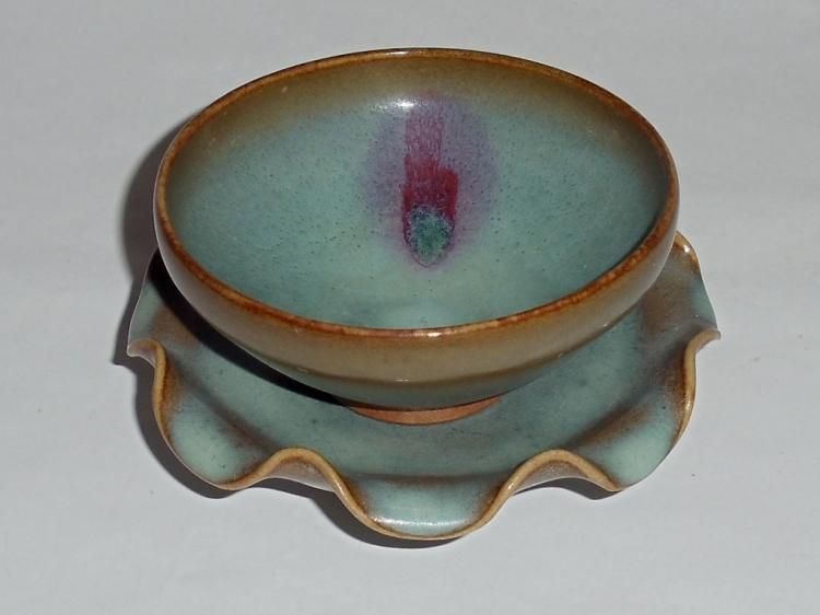 A Rare Song Dynasty Blue-Rosy-Glazed Junyao Bowl with a Floral-Rimmed Stand