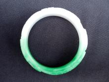 A Vintage Jadeite Bracelet with Apple Green & Lilac Hues & Carved Ruyi-Motifs