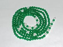 Exquisite Green Jade/Pearl Bead Necklace
