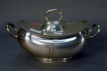 Large sterling silver tureen having cover and two handles, lg. 13in.; ht. 8in.; 38.8 t oz.