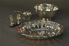 Group of sterling to include Revere style bowl, Chippendale by Frank Smith dish, tea strainer, and bottle tops, 23.7 t oz.