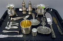 Group of sterling and silver to include creamer and sugar, salt and pepper, flatware, etc., 23 t oz.