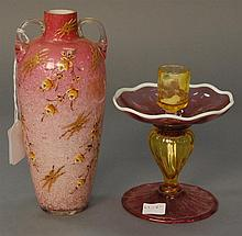 Two piece lot to include amberina art glass candlestick ht. 6in. and cased glass vase with enameling ht. 8in.