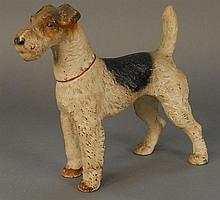 Hubley Fox Terrier cast iron dog door stop, ht. 10in.