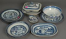 Canton lot with platters, vegetable dishes, various plates, cups, and bowls, 63 total pieces.