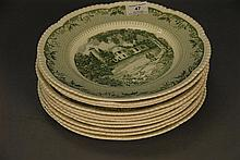 Set of eleven Wedgwood Dartmouth College plates, dia. 11in.