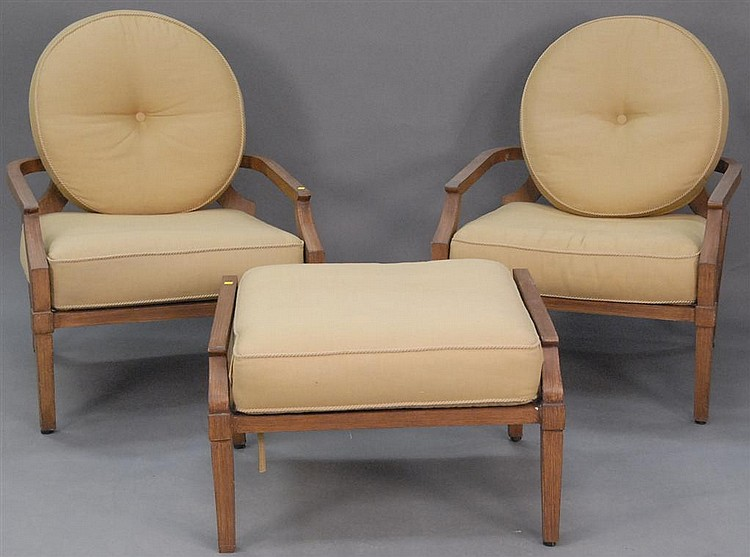 Woodard Landgrave Europa Collection, Two Large Chairs With One Ottoman.