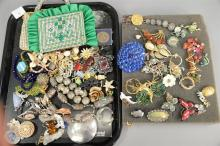 Lot of costume and silver jewelry including American Southwest silver necklace with turquoise, pins on tray, plus three rhinestone p...