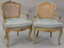Set four Louis XV style (some caning as is).   Provenance: The Estate of Thomas F Hodgman of Fairfield, Connecticut