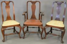 Set three Wallace Nutting walnut Queen Anne style chairs, one arm and two side, marked with block letters.