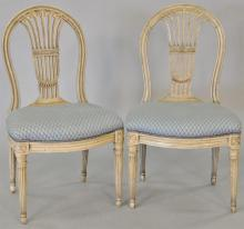 Set of nine Louis XVI style side chairs (painted).   Provenance: The Estate of Thomas F Hodgman of Fairfield, Connecticut