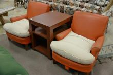 Five piece lot to include pair of orange Naugahyde chairs made by Joseph Giannola, N.Y. (cushions are cloth), Parsons table, flat we...