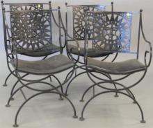 Set of four iron armchairs.  Provenance: From the Estate of Faith K. Tiberio of Sherborn, Massachusetts