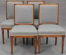 Set of four Louis XVI style side chairs.   Provenance: The Estate of Thomas F Hodgman of Fairfield, Connecticut