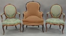 Three Louis XV style chairs.   Provenance: The Estate of Thomas F Hodgman of Fairfield, Connecticut